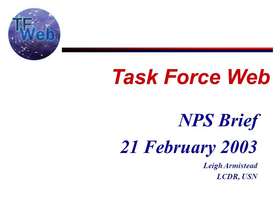 NPS Brief 21 February 2003 Leigh Armistead LCDR, USN Task Force Web