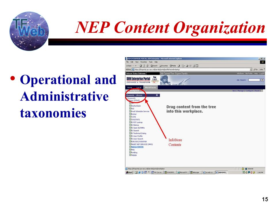 15 NEP Content Organization Operational and Administrative taxonomies
