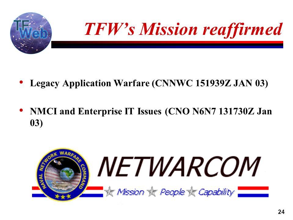 24 TFWs Mission reaffirmed Legacy Application Warfare (CNNWC 151939Z JAN 03) NMCI and Enterprise IT Issues (CNO N6N7 131730Z Jan 03)