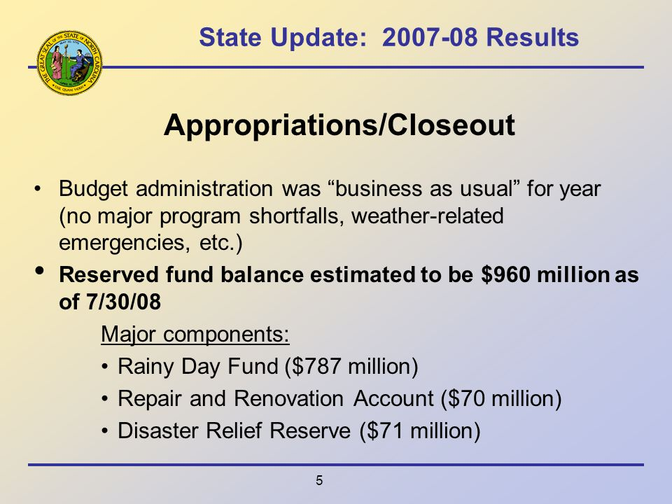 5 State Update: Results Appropriations/Closeout Budget administration was business as usual for year (no major program shortfalls, weather-related emergencies, etc.) Reserved fund balance estimated to be $960 million as of 7/30/08 Major components: Rainy Day Fund ($787 million) Repair and Renovation Account ($70 million) Disaster Relief Reserve ($71 million)