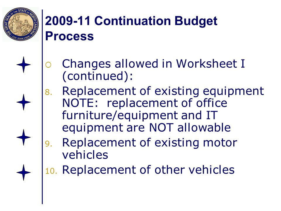 Continuation Budget Process Changes allowed in Worksheet I (continued): 8.