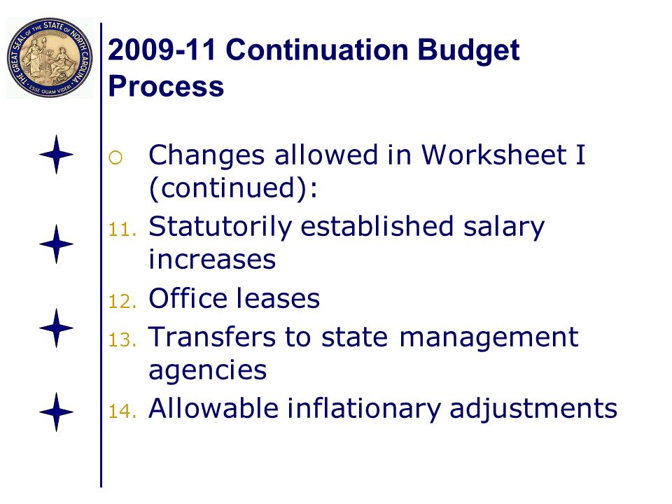 Continuation Budget Process Changes allowed in Worksheet I (continued): 11.