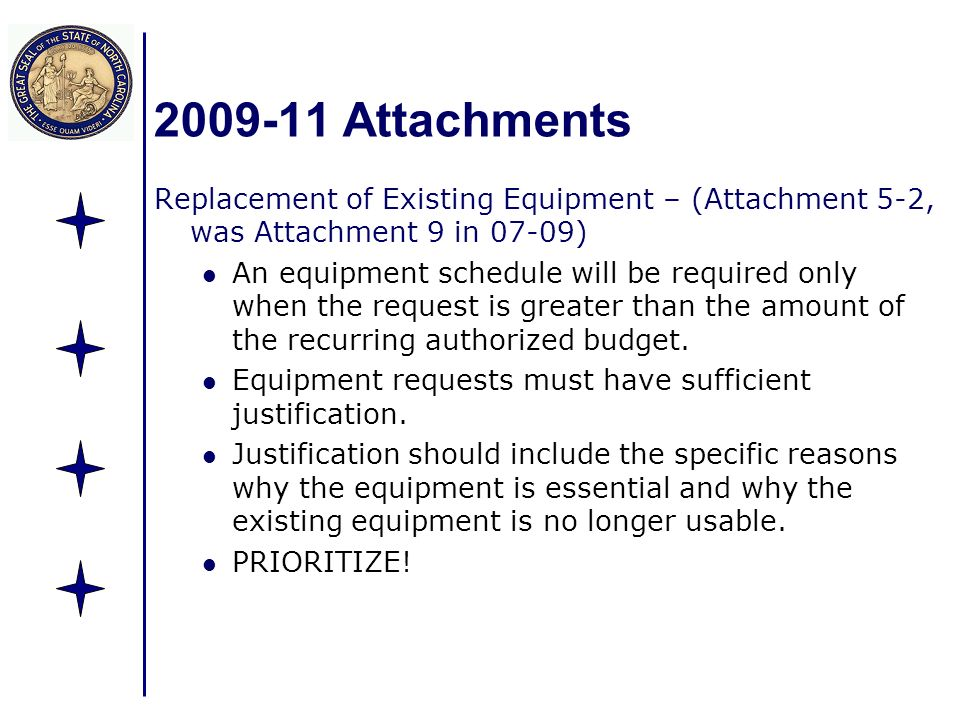 2009-11 Attachments Replacement of Existing Equipment – (Attachment 5-2, was Attachment 9 in 07-09) An equipment schedule will be required only when t