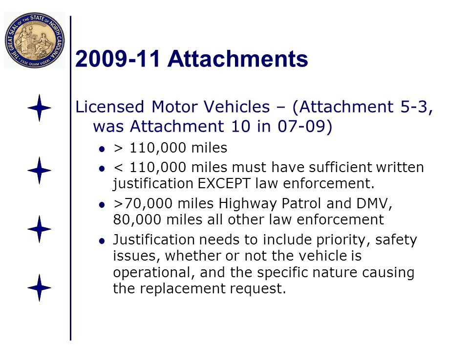 Attachments Licensed Motor Vehicles – (Attachment 5-3, was Attachment 10 in 07-09) > 110,000 miles < 110,000 miles must have sufficient written justification EXCEPT law enforcement.