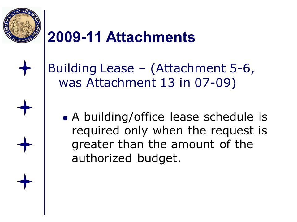 Attachments Building Lease – (Attachment 5-6, was Attachment 13 in 07-09) A building/office lease schedule is required only when the request is greater than the amount of the authorized budget.