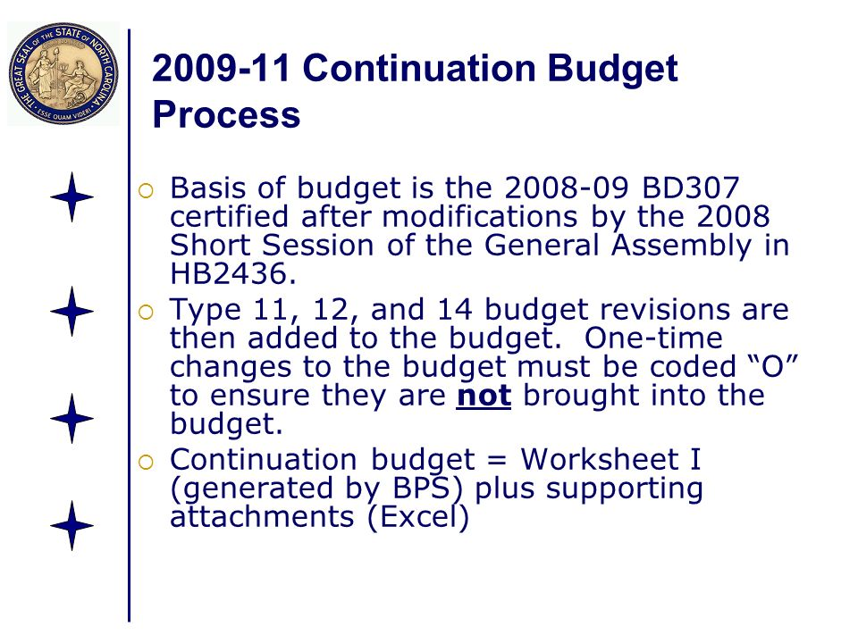2009-11 Continuation Budget Process Basis of budget is the 2008-09 BD307 certified after modifications by the 2008 Short Session of the General Assemb