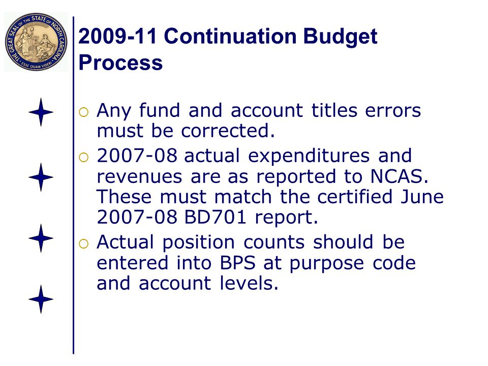 2009-11 Continuation Budget Process Any fund and account titles errors must be corrected. 2007-08 actual expenditures and revenues are as reported to