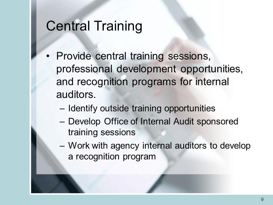 10 Staffing Administer program for sharing internal auditors –Office of Internal Audit