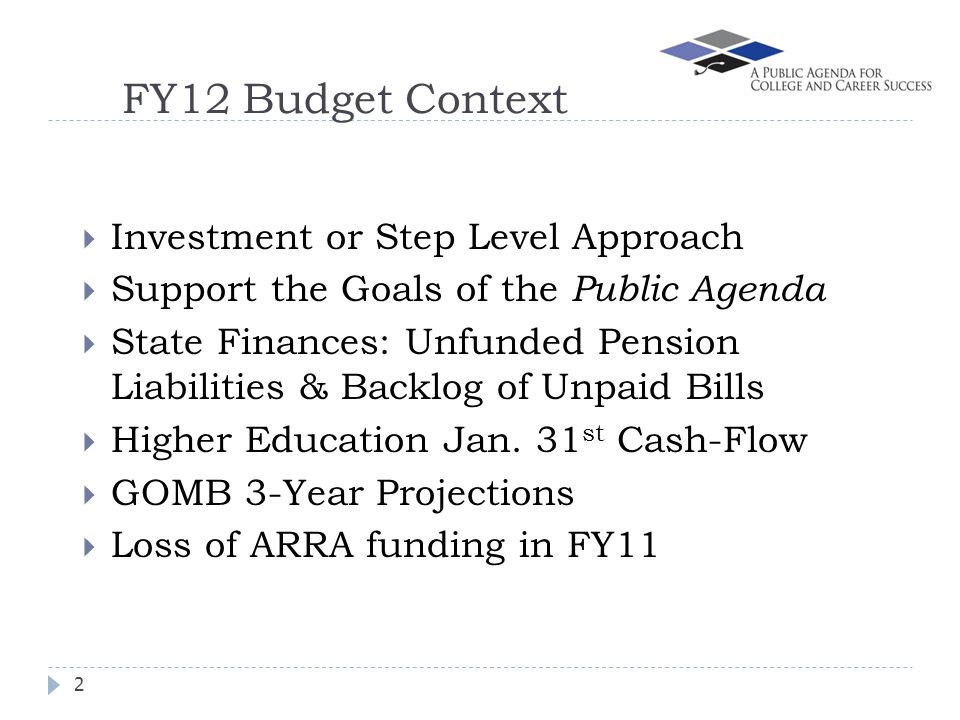 FY12 Budget Context Investment or Step Level Approach Support the Goals of the Public Agenda State Finances: Unfunded Pension Liabilities & Backlog of Unpaid Bills Higher Education Jan.