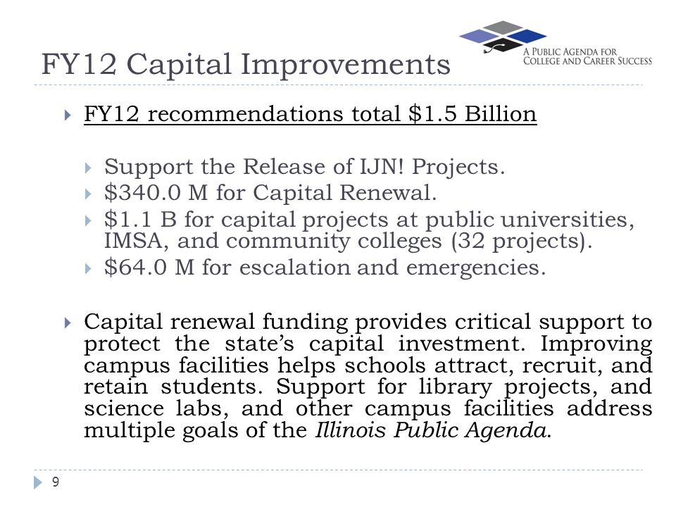 FY12 Capital Improvements 9 FY12 recommendations total $1.5 Billion Support the Release of IJN.