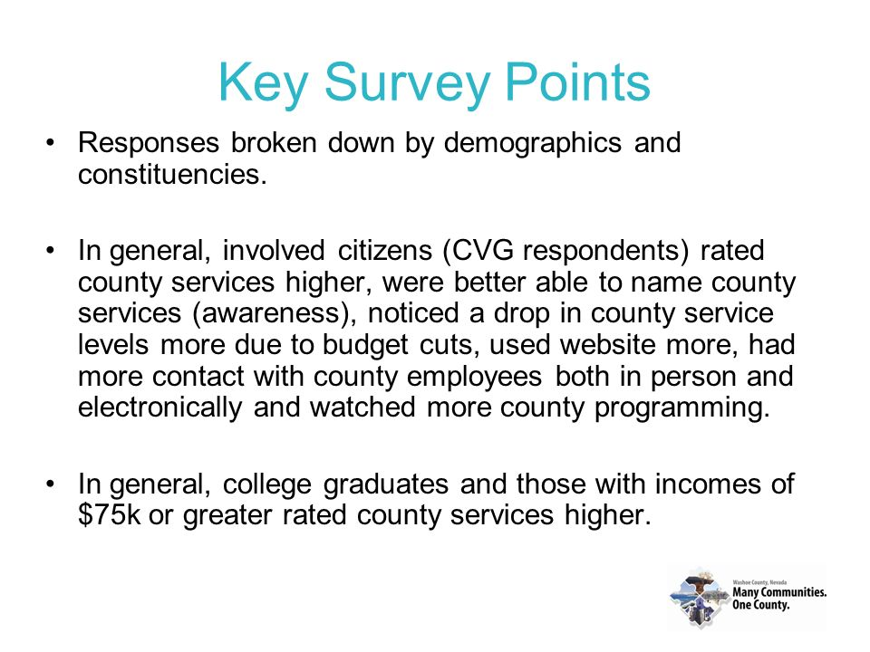 Key Survey Points Responses broken down by demographics and constituencies.