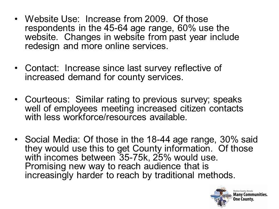 Website Use: Increase from 2009. Of those respondents in the 45-64 age range, 60% use the website. Changes in website from past year include redesign