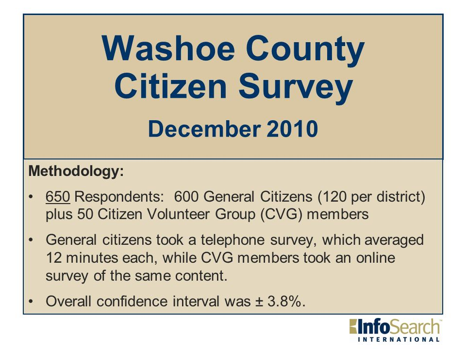 Washoe County Citizen Survey December 2010 Methodology: 650 Respondents: 600 General Citizens (120 per district) plus 50 Citizen Volunteer Group (CVG) members General citizens took a telephone survey, which averaged 12 minutes each, while CVG members took an online survey of the same content.