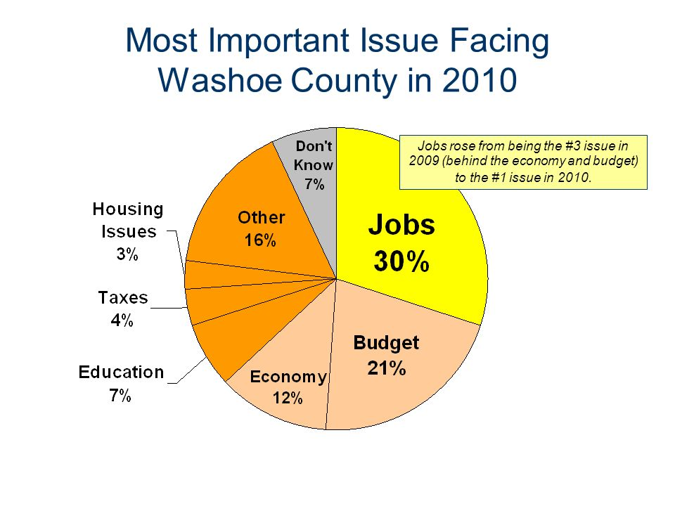 Most Important Issue Facing Washoe County in 2010 Jobs rose from being the #3 issue in 2009 (behind the economy and budget) to the #1 issue in 2010.