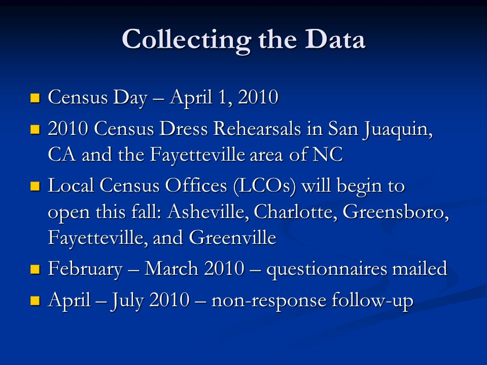 Collecting the Data Census Day – April 1, 2010 Census Day – April 1, 2010 2010 Census Dress Rehearsals in San Juaquin, CA and the Fayetteville area of