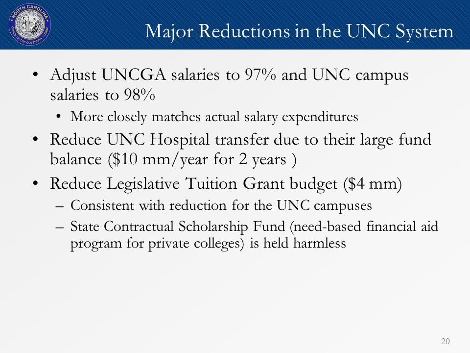 20 Major Reductions in the UNC System Adjust UNCGA salaries to 97% and UNC campus salaries to 98% More closely matches actual salary expenditures Reduce UNC Hospital transfer due to their large fund balance ($10 mm/year for 2 years ) Reduce Legislative Tuition Grant budget ($4 mm) –Consistent with reduction for the UNC campuses –State Contractual Scholarship Fund (need-based financial aid program for private colleges) is held harmless
