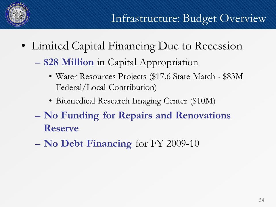 54 Infrastructure: Budget Overview Limited Capital Financing Due to Recession –$28 Million in Capital Appropriation Water Resources Projects ($17.6 State Match - $83M Federal/Local Contribution) Biomedical Research Imaging Center ($10M) –No Funding for Repairs and Renovations Reserve –No Debt Financing for FY 2009-10