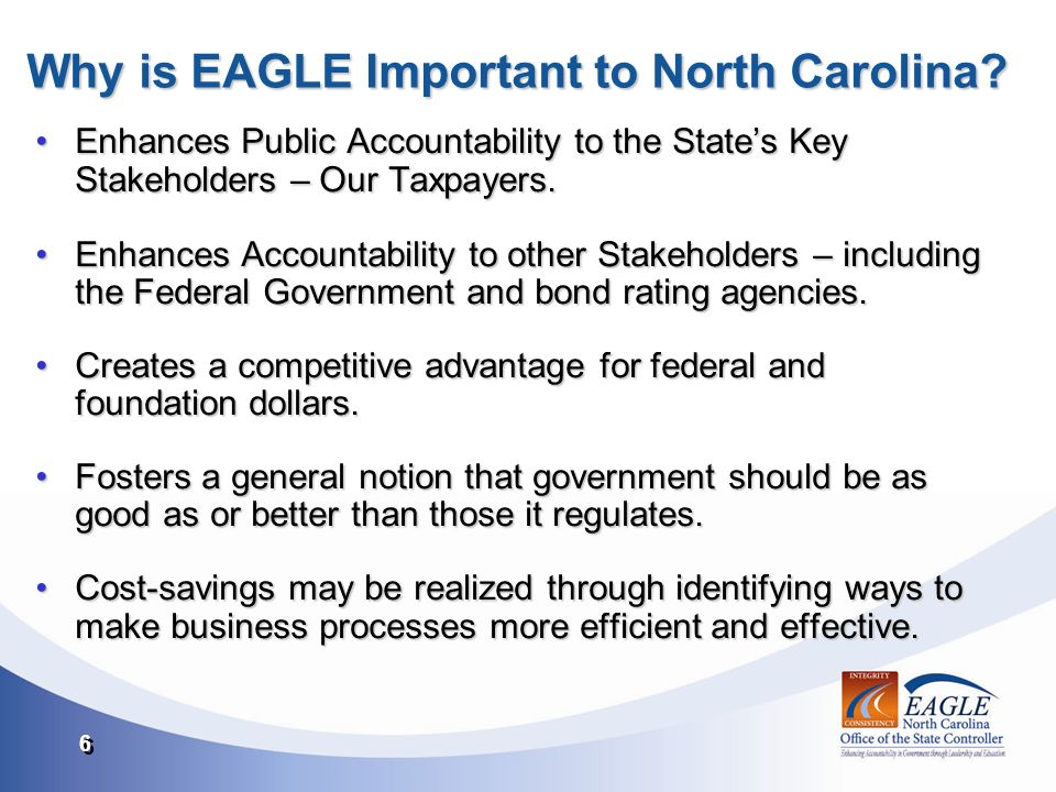 6 6 Why is EAGLE Important to North Carolina.