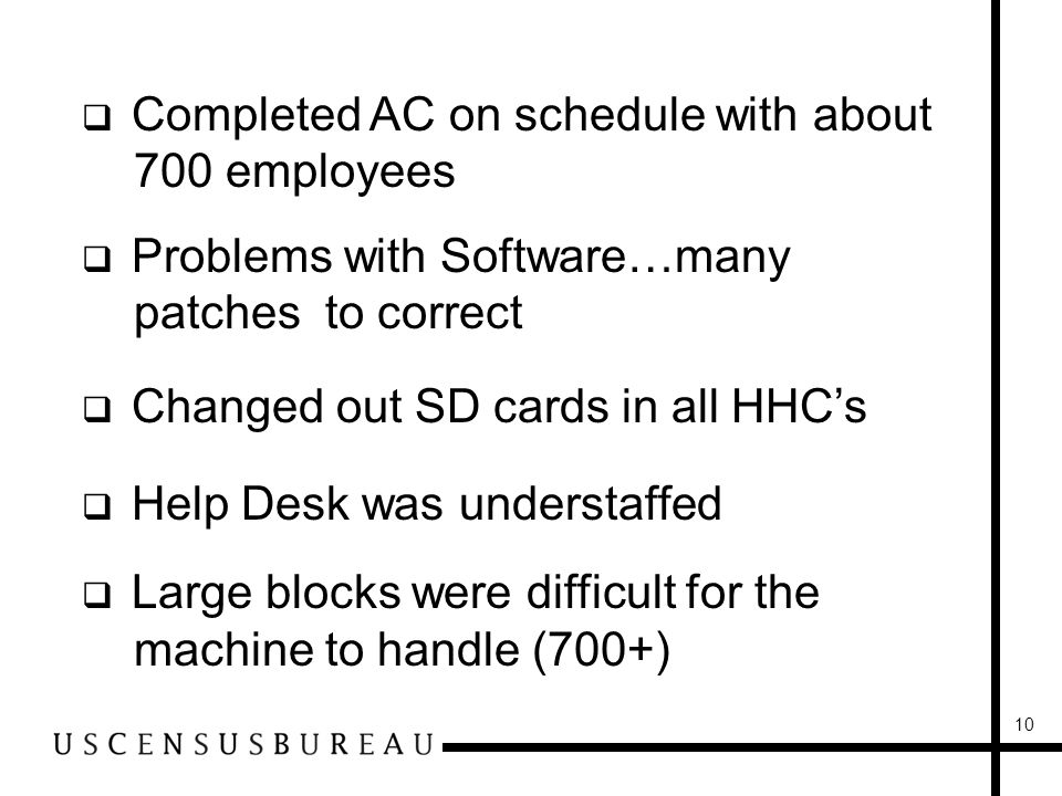 10 Completed AC on schedule with about 700 employees Problems with Software…many patches to correct Changed out SD cards in all HHCs Help Desk was understaffed Large blocks were difficult for the machine to handle (700+)