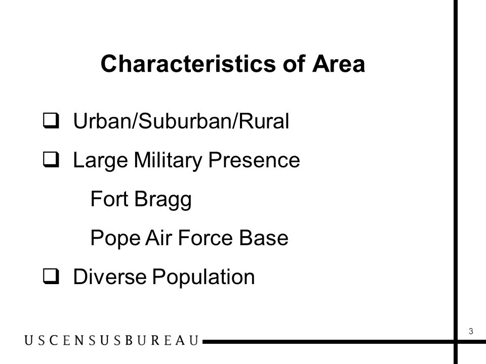 3 Characteristics of Area Urban/Suburban/Rural Large Military Presence Fort Bragg Pope Air Force Base Diverse Population
