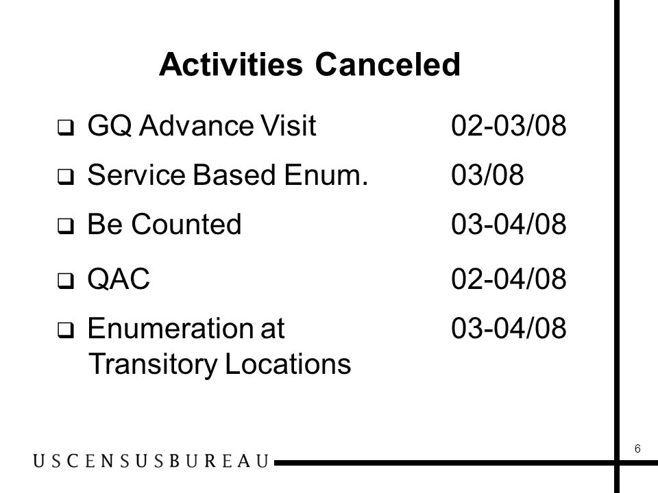 6 Activities Canceled GQ Advance Visit02-03/08 Service Based Enum.03/08 Be Counted03-04/08 QAC02-04/08 Enumeration at 03-04/08 Transitory Locations