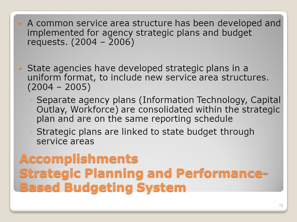 Presentation Outline 18 Previous Issues With Virginias Performance System Current Performance Management In Virginia Steps For Ensuring Continued Success Strategic Planning and Performance-Based Budgeting