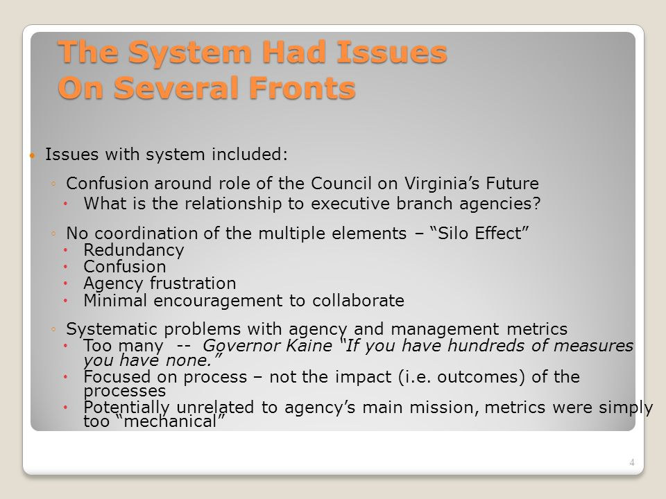 Prior to 2006 Virginias Performance Management System Was Segmented 3 State Agency Strategic Plans Council On Virginias Future (Long-term/Statewide) Management Agreements Management Scorecard Virginia Results Agency Goals & Performance Metrics Administrative Metrics Agency Performance Metrics Agency Performance Metrics Long Range Plans & Agency Performance Metrics Agency Performance Management