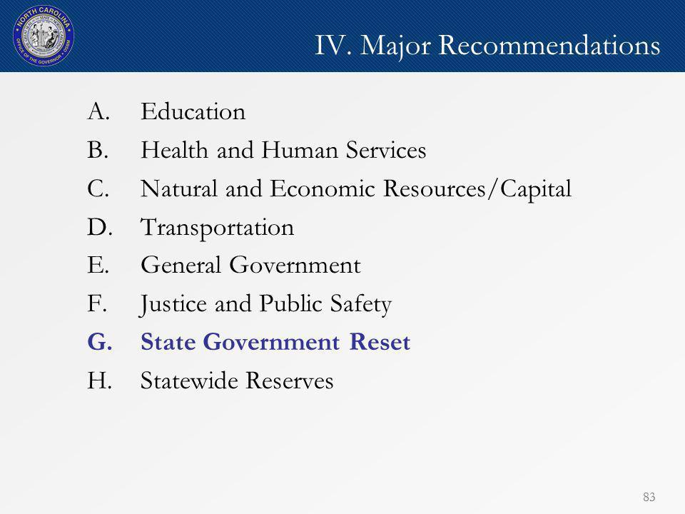 83 IV. Major Recommendations A.Education B.Health and Human Services C.Natural and Economic Resources/Capital D.Transportation E.General Government F.