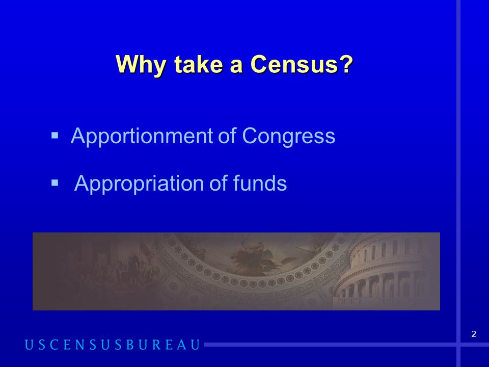 2 Why take a Census? Appropriation of funds Apportionment of Congress