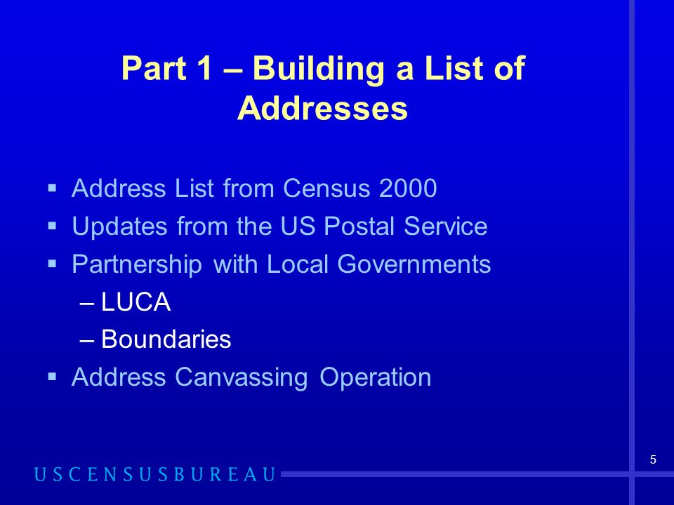 5 Part 1 – Building a List of Addresses Address List from Census 2000 Updates from the US Postal Service Partnership with Local Governments –LUCA –Bou