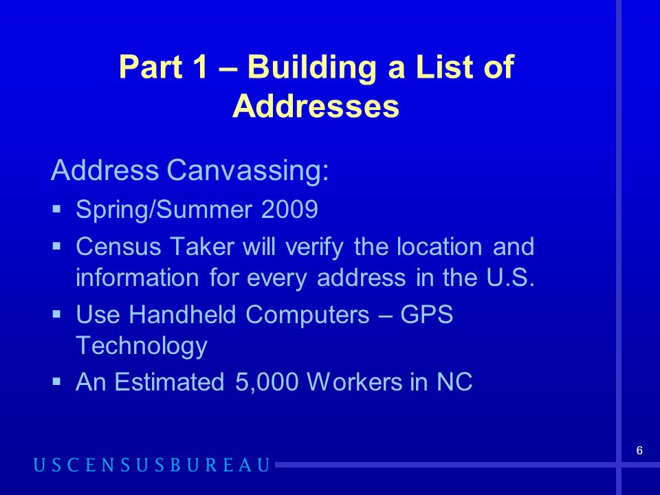 6 Part 1 – Building a List of Addresses Address Canvassing: Spring/Summer 2009 Census Taker will verify the location and information for every address