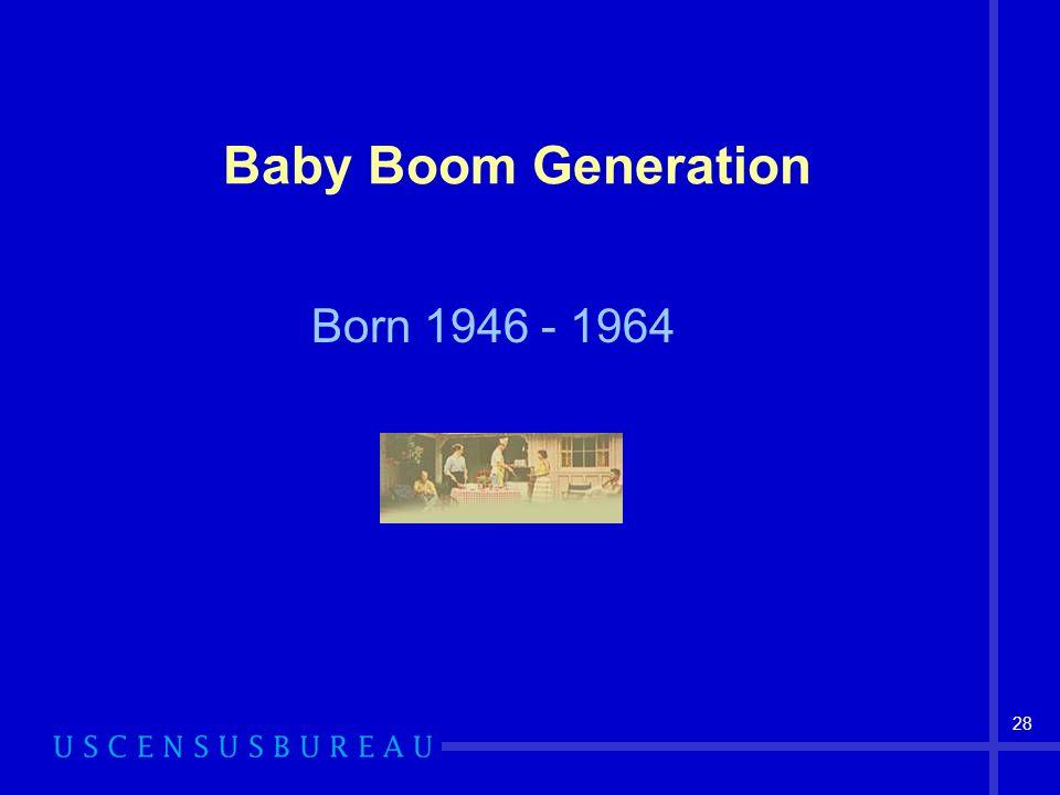 28 Baby Boom Generation Born 1946 - 1964