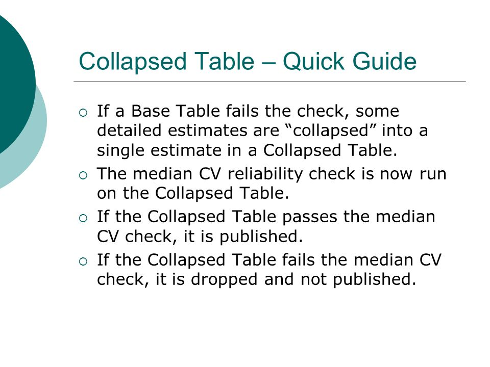 Collapsed Table – Quick Guide If a Base Table fails the check, some detailed estimates are collapsed into a single estimate in a Collapsed Table.