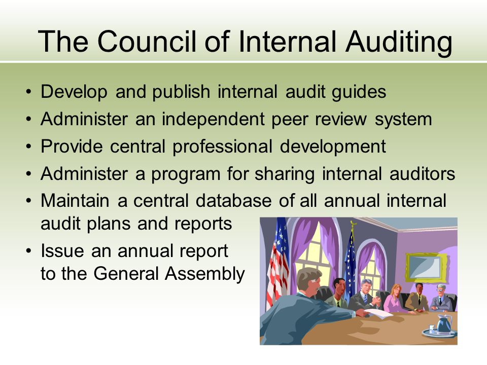 The Council of Internal Auditing Develop and publish internal audit guides Administer an independent peer review system Provide central professional development Administer a program for sharing internal auditors Maintain a central database of all annual internal audit plans and reports Issue an annual report to the General Assembly