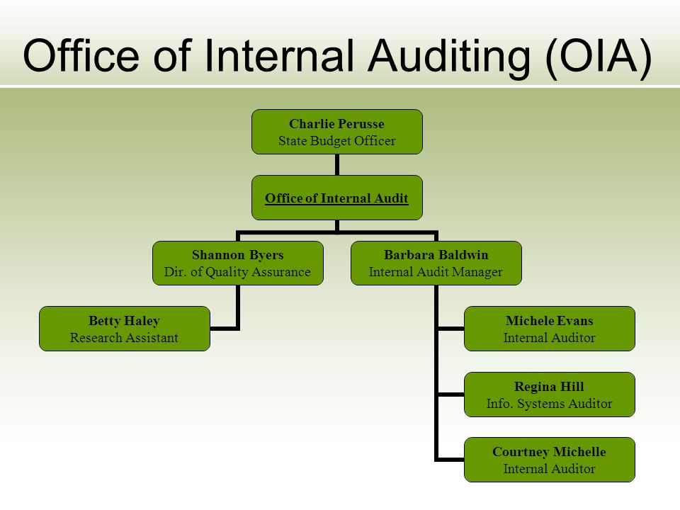 Office of Internal Auditing (OIA) Charlie Perusse State Budget Officer Office of Internal Audit Shannon Byers Dir.