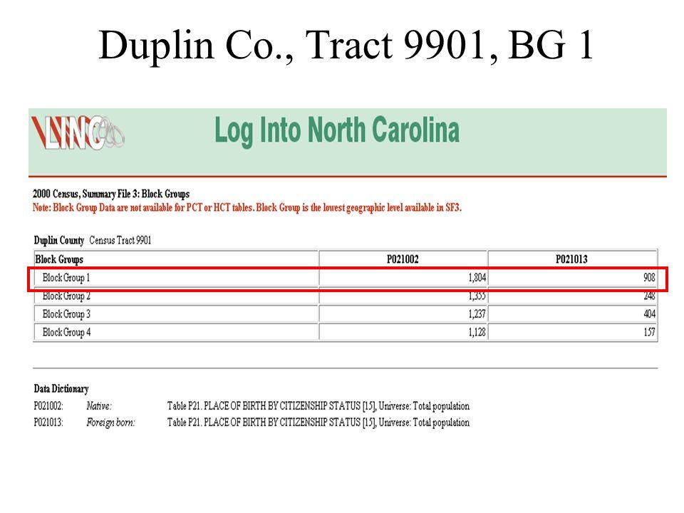 Duplin Co., Tract 9901, BG 1
