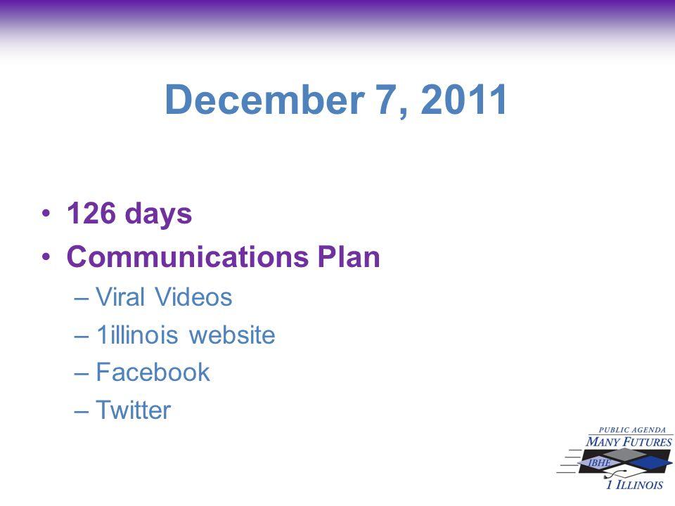 December 7, 2011 126 days Communications Plan –Viral Videos –1illinois website –Facebook –Twitter