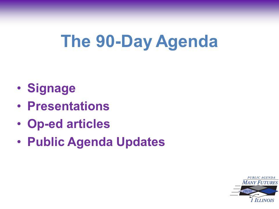 The 90-Day Agenda Signage Presentations Op-ed articles Public Agenda Updates