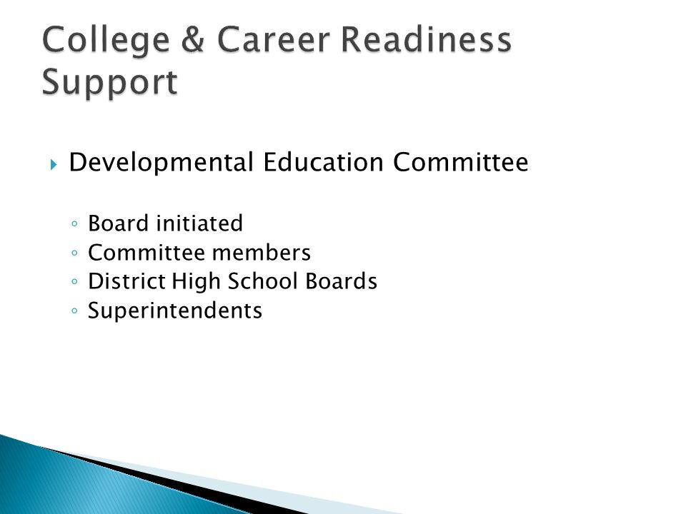 Developmental Education Committee Board initiated Committee members District High School Boards Superintendents