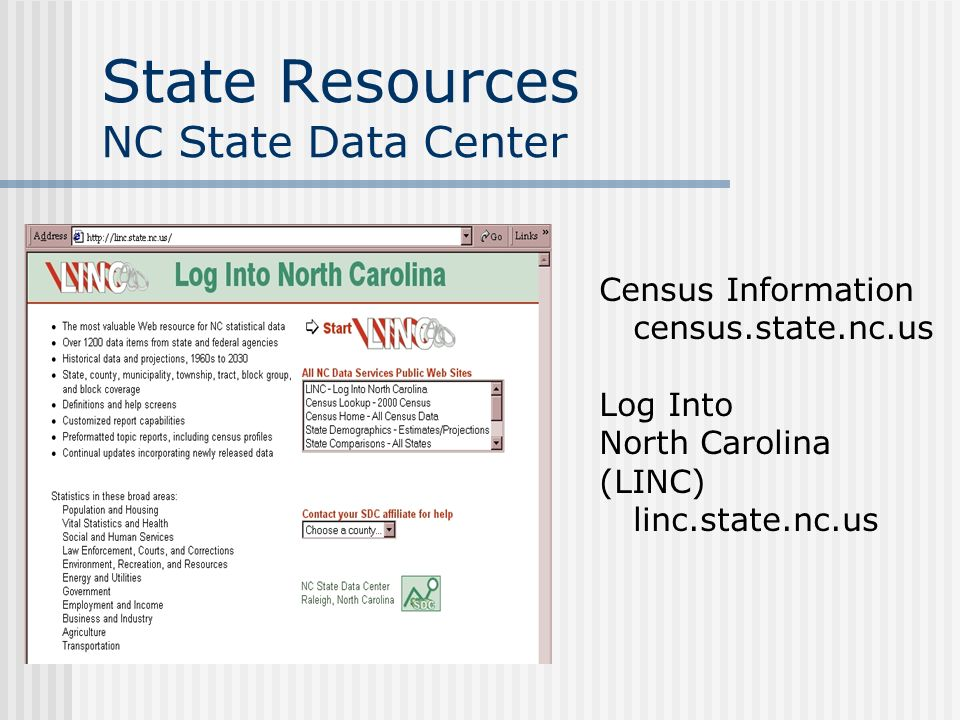 State Resources NC Department of Commerce http://www.nccommerce.com Economic Development Information System (EDIS) Economic Development Scans Industry Profiles State Comparisons