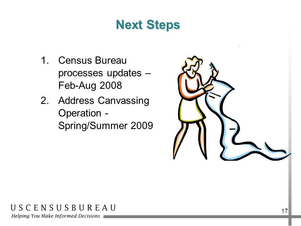 17 Next Steps 1.Census Bureau processes updates – Feb-Aug 2008 2.Address Canvassing Operation - Spring/Summer 2009