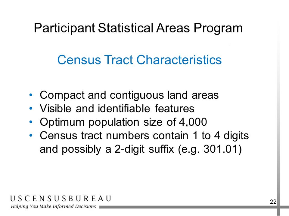 22 Participant Statistical Areas Program Compact and contiguous land areas Visible and identifiable features Optimum population size of 4,000 Census t