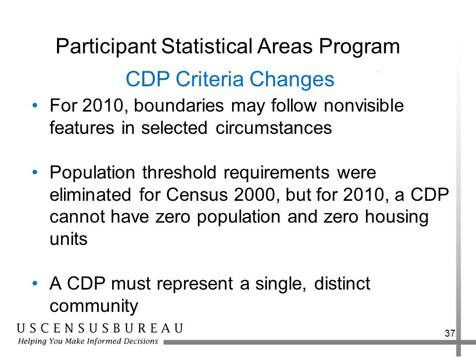37 Participant Statistical Areas Program For 2010, boundaries may follow nonvisible features in selected circumstances Population threshold requiremen
