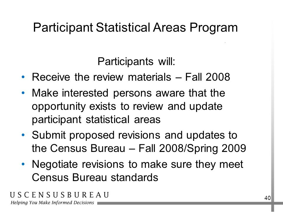 40 Participant Statistical Areas Program Participants will: Receive the review materials – Fall 2008 Make interested persons aware that the opportunit