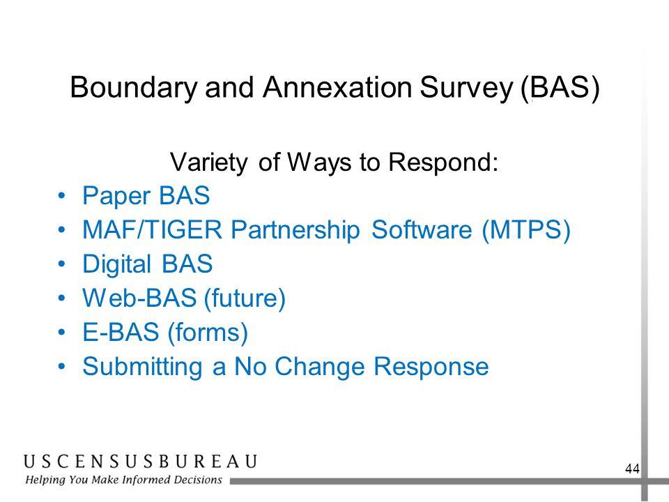 Boundary and Annexation Survey (BAS) Variety of Ways to Respond: Paper BAS MAF/TIGER Partnership Software (MTPS) Digital BAS Web-BAS (future) E-BAS (f