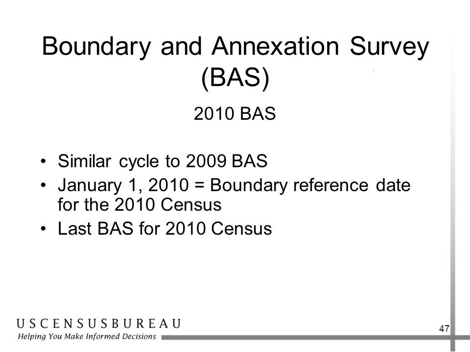 Boundary and Annexation Survey (BAS) 2010 BAS Similar cycle to 2009 BAS January 1, 2010 = Boundary reference date for the 2010 Census Last BAS for 201