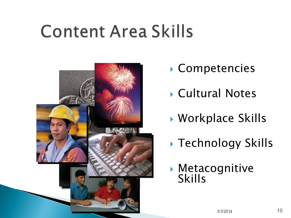 Competencies Cultural Notes Workplace Skills Technology Skills Metacognitive Skills 3/3/2014 10