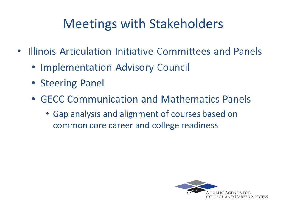 Meetings with Stakeholders Illinois Articulation Initiative Committees and Panels Implementation Advisory Council Steering Panel GECC Communication an