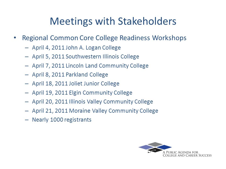 Meetings with Stakeholders Regional Common Core College Readiness Workshops – April 4, 2011 John A.