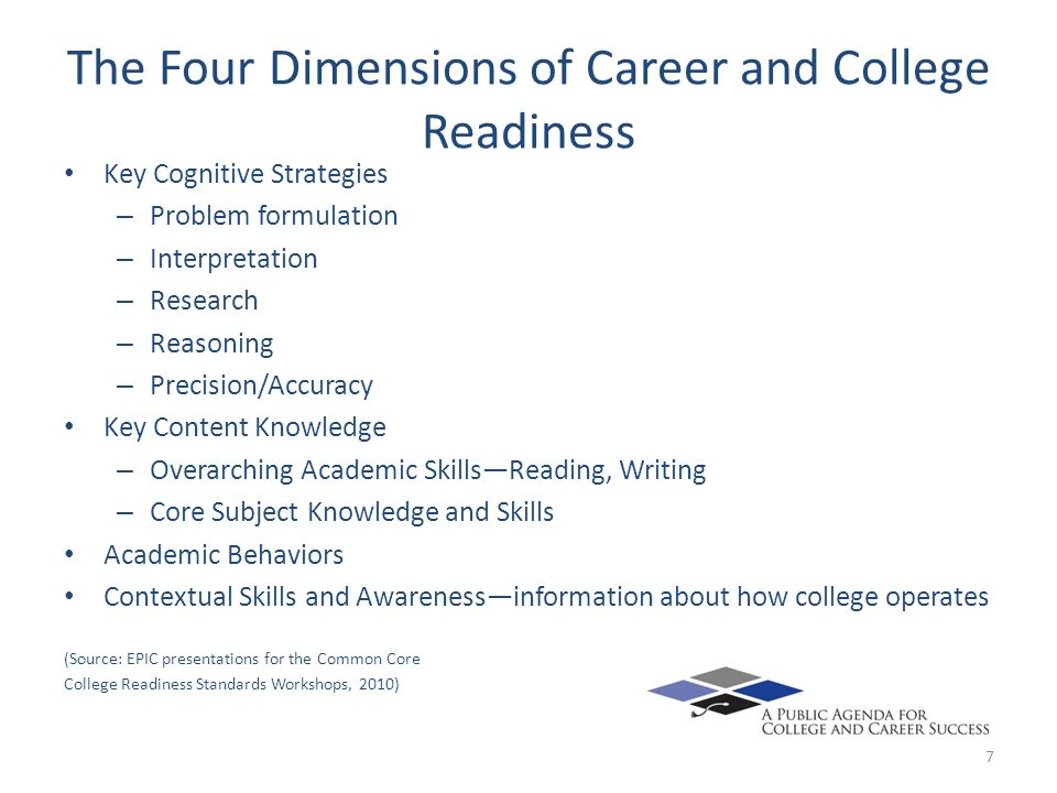 The Four Dimensions of Career and College Readiness Key Cognitive Strategies – Problem formulation – Interpretation – Research – Reasoning – Precision/Accuracy Key Content Knowledge – Overarching Academic SkillsReading, Writing – Core Subject Knowledge and Skills Academic Behaviors Contextual Skills and Awarenessinformation about how college operates (Source: EPIC presentations for the Common Core College Readiness Standards Workshops, 2010) 7